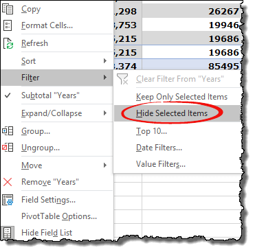 excel pivot table tips tricks to hide selection