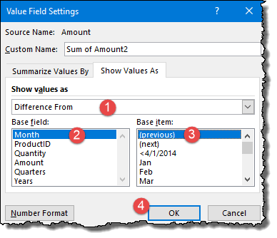 excel pivot table tips tricks to insert difference column select previous from options