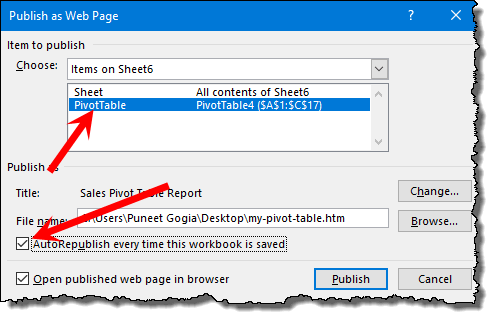 excel pivot table tips tricks to save a pivot table as a web page as publish