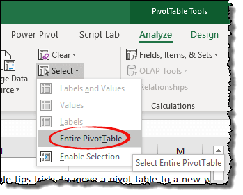 excel pivot table tips tricks to select the entire pivot table at once