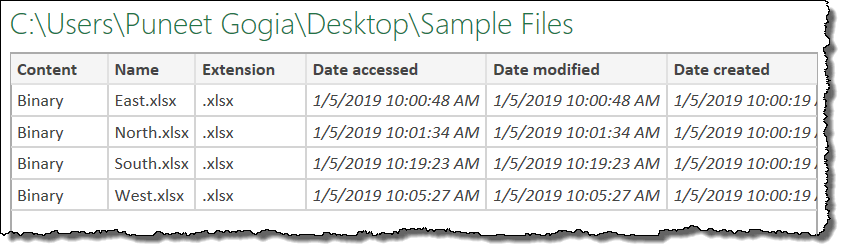 combine multiple files into one workbook using power query listing all the file
