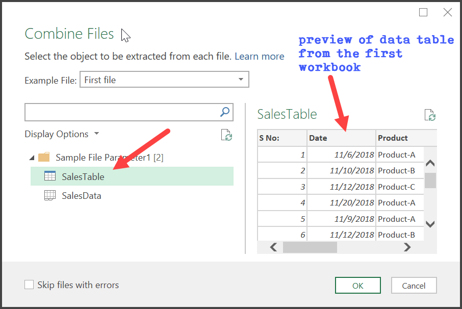 combine multiple files into one workbook using power query select the table
