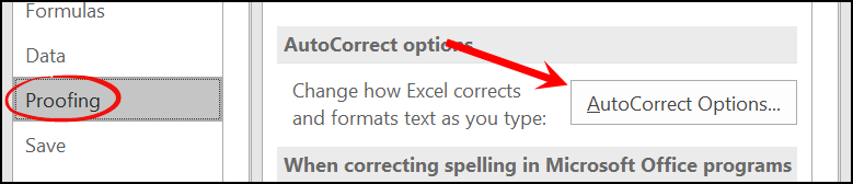 open autocorrect option to create checkmark in a cell