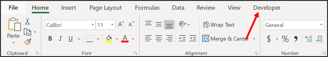 1-develper-tab-on-your-excel-ribbon