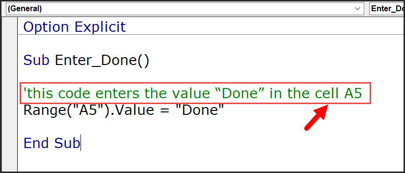 a comment in a code