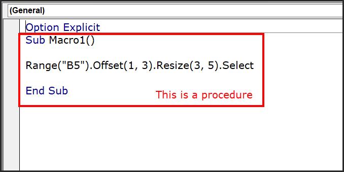 a simple procedure in vba