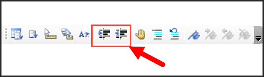 indent buttons on edit toolbar
