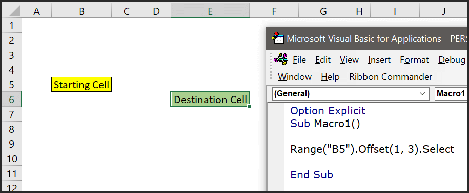 navigate to a cell using offset property