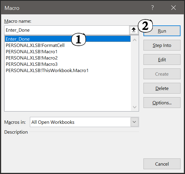 run a macro code from the list of macros