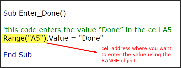 using range object to define the cell address