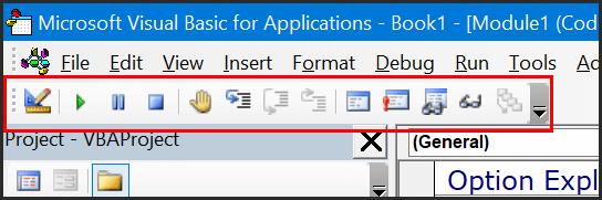 visual basic editor toolbar