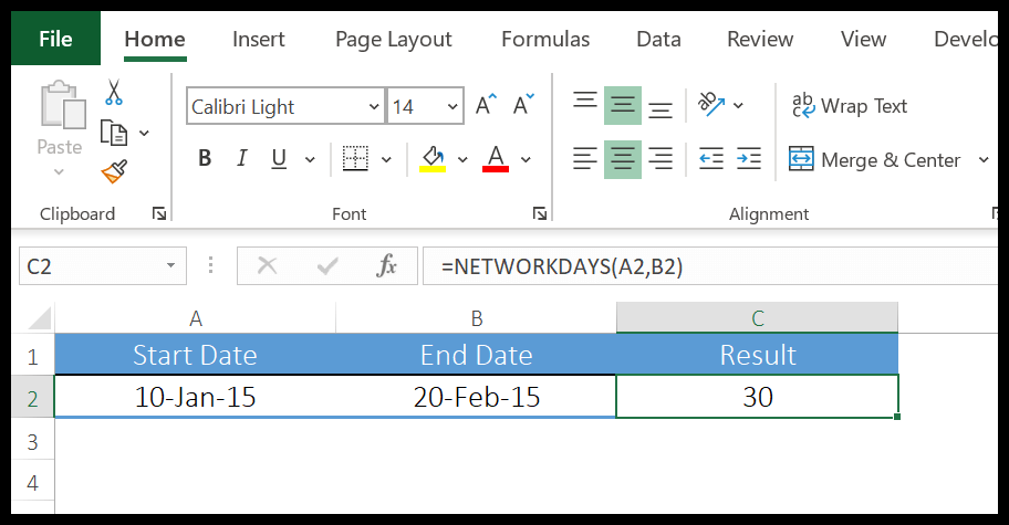 excel-networkdays-function-example-1