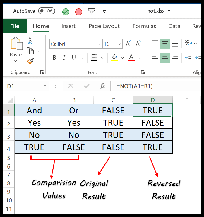 excel-not-function-example-1