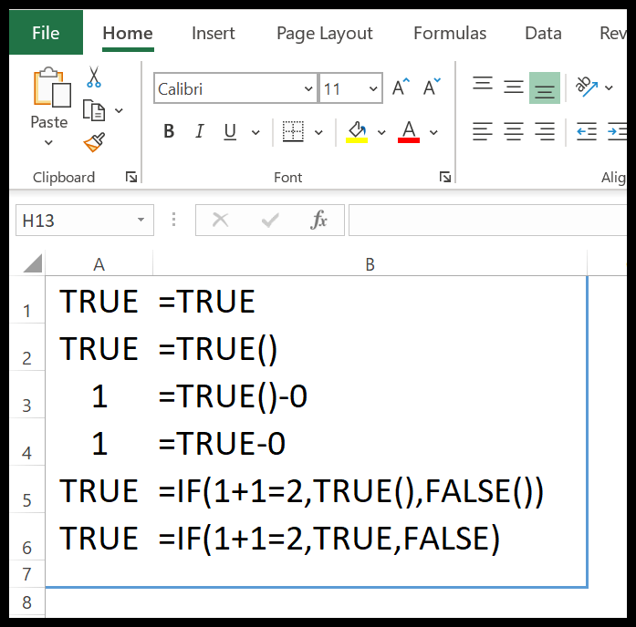 excel-true-function-example-1