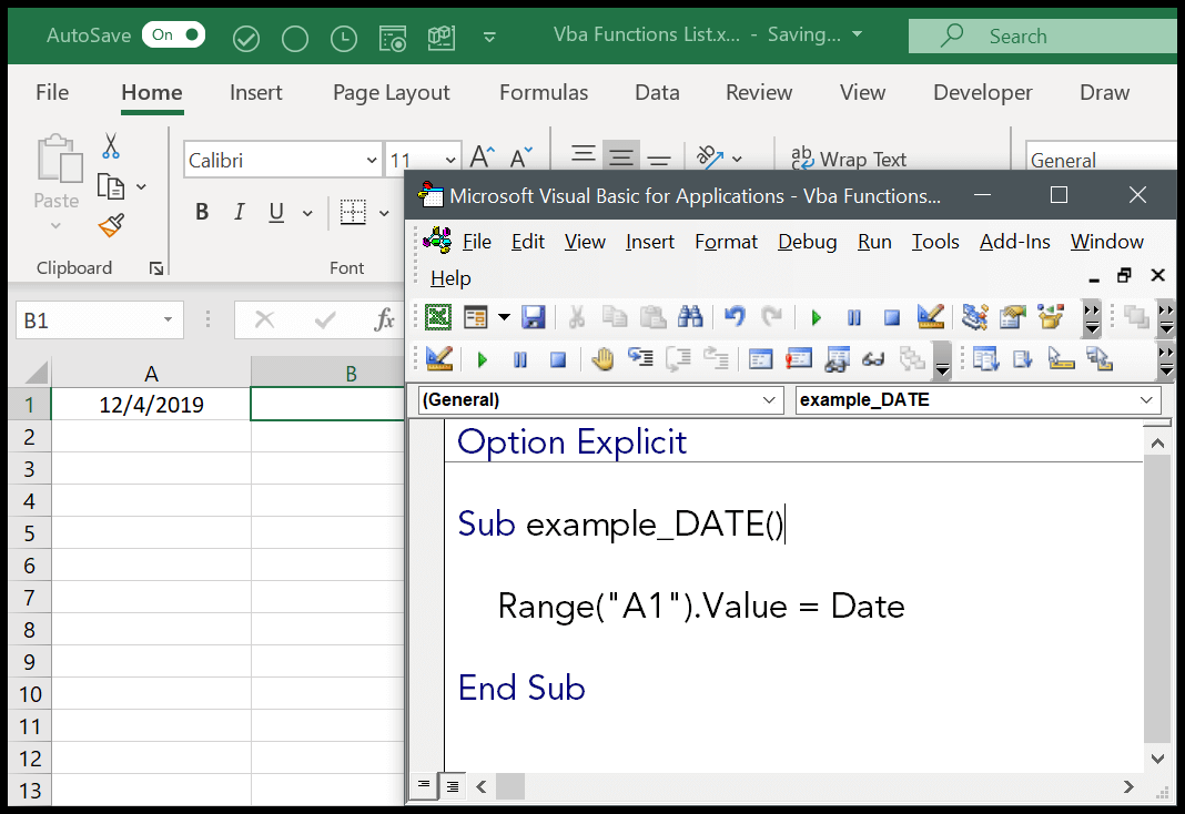 How to use the VBA DATE Function Syntax + Example