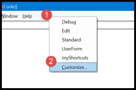 9-vba-comment-shortcut-click-customize