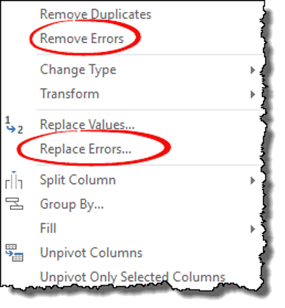 power query tips tricks remove replace errors option